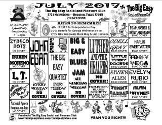 July 2017 Calendar for The Big Easy