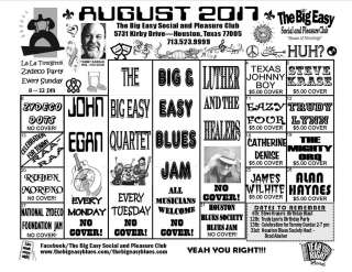 The Big Easy Calendar August 2017