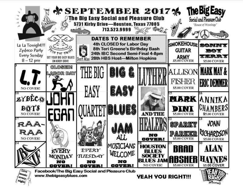 The Big Easy Calendar September 2017