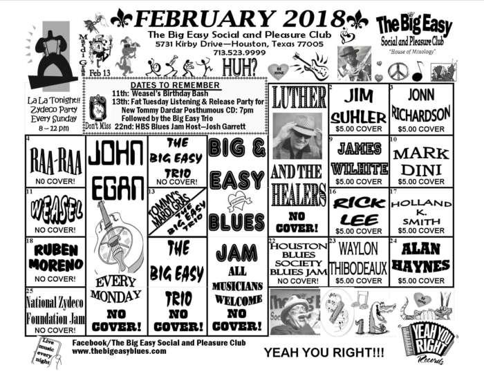 The Big Easy Calendar February 2018