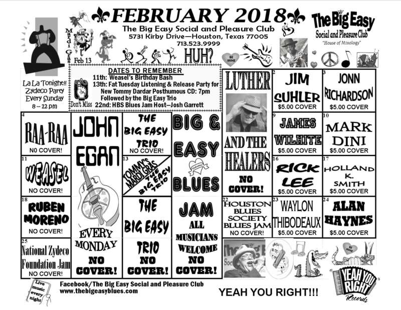 The Big Easy Calendar February 2018