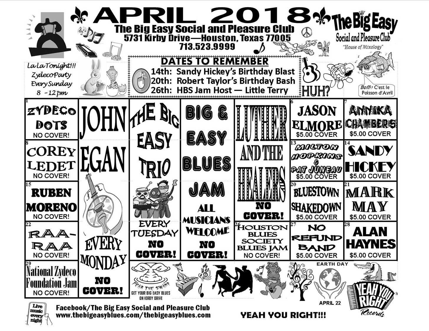 Calendar April 2018.April 2018 Calendar The Big Easy