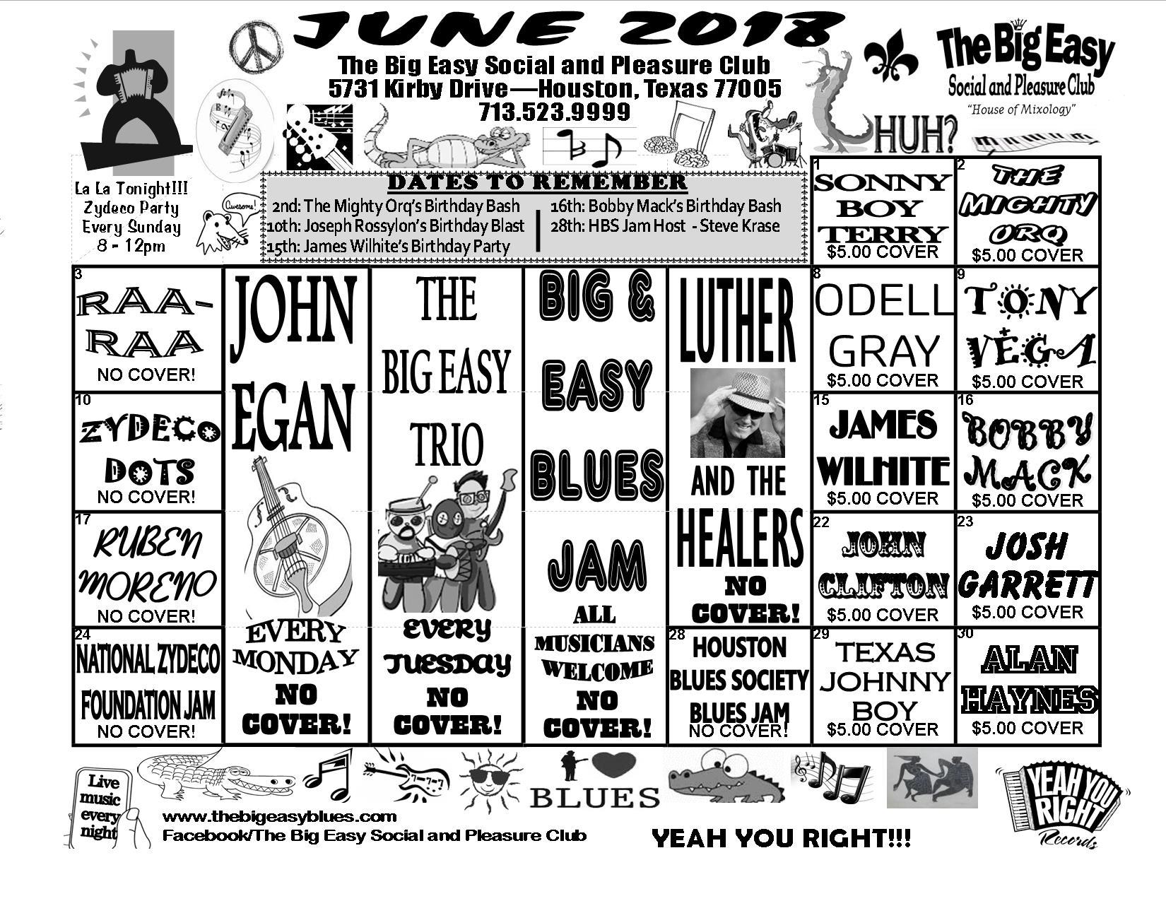 june 2018 calendar the big easy