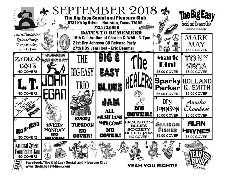 September 2018 Calendar - The Big Easy